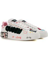 05db17dd2c Lyst - Dolce & Gabbana Metallic Leather Sneakers in Metallic
