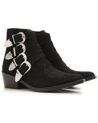 Toga Pulla - Black Suede Western Buckle Boots - Lyst