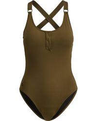 Polo Ralph Lauren - Henley One-piece Swimsuit - Lyst