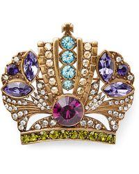 Ralph Lauren - Crown Crystal Brooch - Lyst