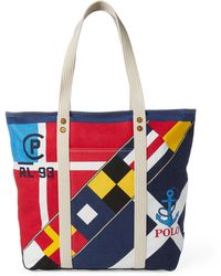 8d0a7db9ef Polo Ralph Lauren - Large Pp Tote Scarf Print In Multicolour Print Canvas -  Lyst