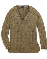 Polo Ralph Lauren - Cable Cotton V-neck Sweater - Lyst