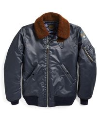 RRL - Shearling-collar Down Jacket - Lyst