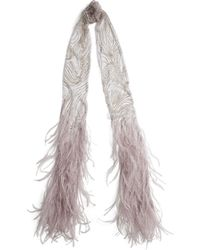 Pink Pony | Beaded Tulle Feather Scarf | Lyst