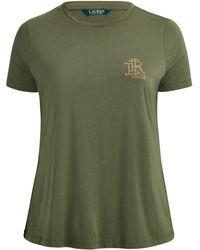 Ralph Lauren - Beaded-monogram Cotton T-shirt - Lyst