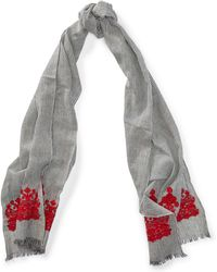 Ralph Lauren - Embroidered Cotton Scarf - Lyst