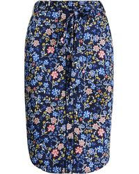 Ralph Lauren - Belted Print Twill Skirt - Lyst