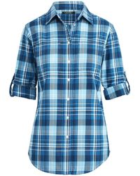c66b0f0a2dfc1 Lyst - Polo Ralph Lauren Silk Crepe Button-down Shirt in Natural