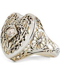 Ralph Lauren - Brass Filigree Heart Ring - Lyst