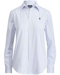 Polo Ralph Lauren   Striped Cotton Boyfriend Shirt   Lyst