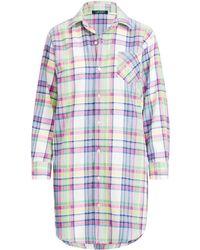 Lyst - Ralph Lauren Brushed Twill Sleep Shirt in Blue f1285b9b0