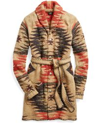 RRL - Hand-knit Belted Cardigan - Lyst