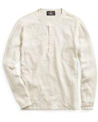 0d69ffee55b RRL - T-shirt à col tunisien coton gaufré - Lyst