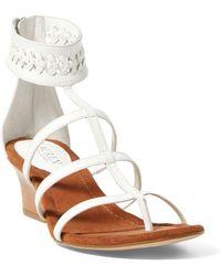 Ralph Lauren | Meira Leather Wedge Sandal | Lyst