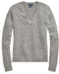 Polo Ralph Lauren - Cable Cashmere V-neck Sweater - Lyst