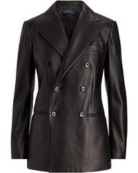 Polo Ralph Lauren - Blazer croisé en cuir - Lyst