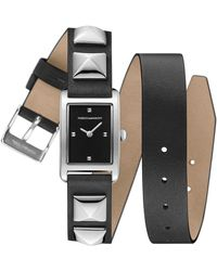 Rebecca Minkoff - Moment Silver Tone Studded Leather Wrap Watch, 19mm X 30mm - Lyst
