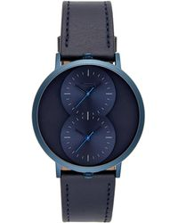 Rebecca Minkoff - Griffith Blue Ion Plated Tone Blue Strap Watch, 43mm - Lyst