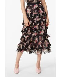 Rebecca Taylor - Bouquet Floral Tiered Ruffle Skirt - Lyst