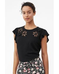 Rebecca Taylor - Emilie Embroidered Jersey Top Black, Size Large - Lyst