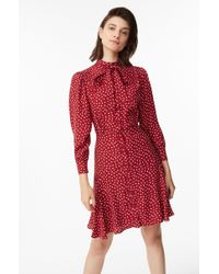 Rebecca Taylor - Blurry Heart Silk Tie Neck Dress - Lyst