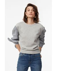 Rebecca Taylor - La Vie Striped Sleeve Fleece Pullover - Lyst