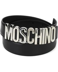 26eb095c697 Moschino - Women's 80078001a3555 Black Leather Belt - Lyst