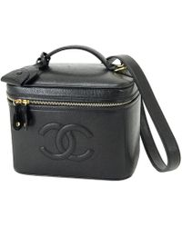 Chanel | Caviar Leather Vanity Bag Hand Bag Make-up Case Black 90007919.. | Lyst