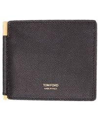 Tom Ford - Black Wallet In Calfskin With Golden Clip For Banknotes And Golden Logo - Lyst
