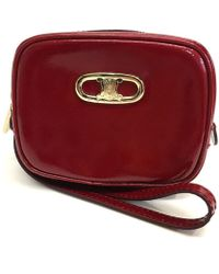 Céline - Logo Hardware With Strap Cosmetic Pouch Cosmetics Pouch Red Patent Leather - Lyst
