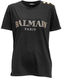 Balmain - Embellished Logo Cotton Top - Lyst