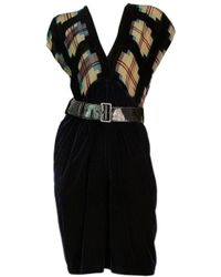 Jean Paul Gaultier | Femme Silk & Leather Belted Blue Checked Dress | Lyst