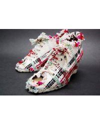 Chanel - 04p Tweed Open-toe Wedgesole Heels White X Multi-color - Lyst