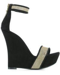 Balmain - Black Suede Wedge Shoes - Lyst