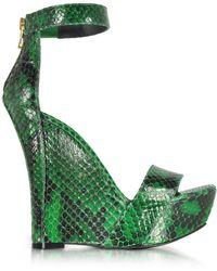 Balmain - Samara Green Python Wedge Sandals - Lyst
