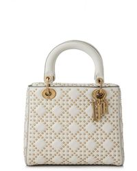 09b2b2887106 Lyst - Dior Christian Cannage Lady Hand Bag Patent Leather in Natural