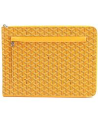 Goyard - Sorbonne Chevron Pvc Leather Document Case Yellow Purse 90038732.. - Lyst