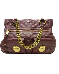 Marc Jacobs - Auth Quilted Chain Shoulder Tote Bag Purple Leather Used Vintage - Lyst