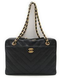 Chanel - V Stitch Chain Tote Shoulder Bag Caviar Skin Leather Cc Quilted -  Lyst b2518431a04d2