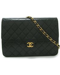 Chanel | Matelasse Chain Shoulderbag Black Lambskin Leather Quilted Cc | Lyst