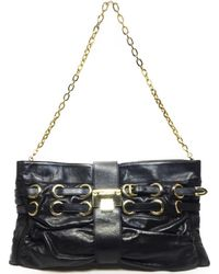 Jimmy Choo - Authentic Chain Shoulder Hand Bag Black Leather Used Vintage - Lyst