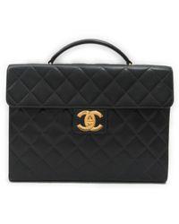 Chanel - Matrasse Briefcase Caviar Skin Leather Black - Lyst