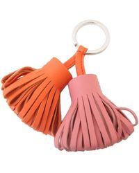 Hermès - Carmen Uno Dos Lambskin Pink Orange Fringe Charm Strap Keyrings [new] - Lyst