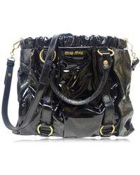 5bc180515aa Miu Miu - Authentic 2way Satchel Shoulder Hand Bag Black Patent Leather  Used - Lyst