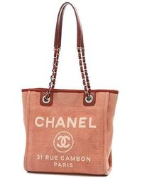 Chanel | Deauville Line Deauville Pm Small Tote Bag Canvas Red A66939 | Lyst