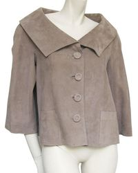 Dior - Christian T38 In Suede Calf Leather Jacket Taupe - Lyst