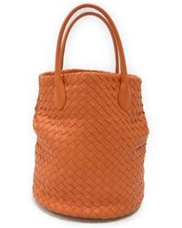 b2c185a09465 Bottega Veneta - Intrecciato Hand Tote Bag Orange Leather 214727 - Lyst