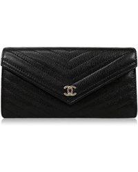 6b0741cd5a3a Chanel - Chevron Flap Long Wallet Black Goatskin Ghw A84348[brand  New][authentic