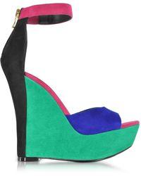 Balmain - Zia Multicolor Suede Wedge Sandal - Lyst