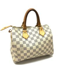 49f9036fbbee Louis Vuitton - Damier Azur Speedy 25 Hand Bag Mini Duffle Bag Duffle Bag  White Damierazurcanvas